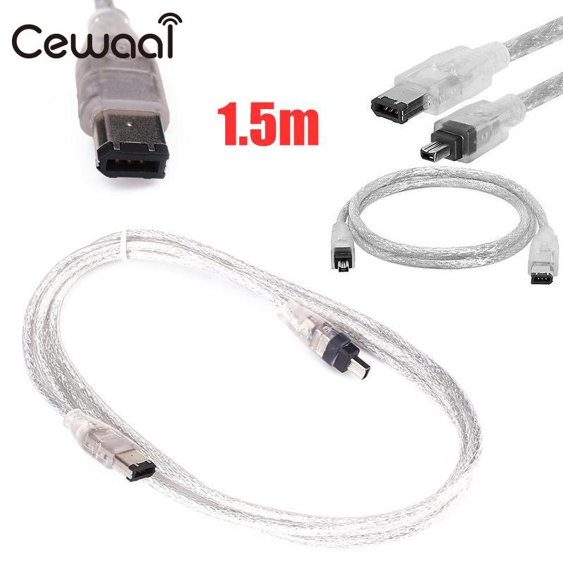 CEWAAL 1.5M FireWire 4P/6P to 4Pin IEEE 1394 iLink Adapter Cable Cord Wire Lead High Speed high quality kingkong 1306 3100kv 2 4s burshless motor cw ccw for fpv racer drones rc multicopter