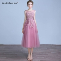 vestidos de boda invitados 2019 new Scoop neck tulle beaded a Line blush pink bridesmaid dresses Tea wedding party dress