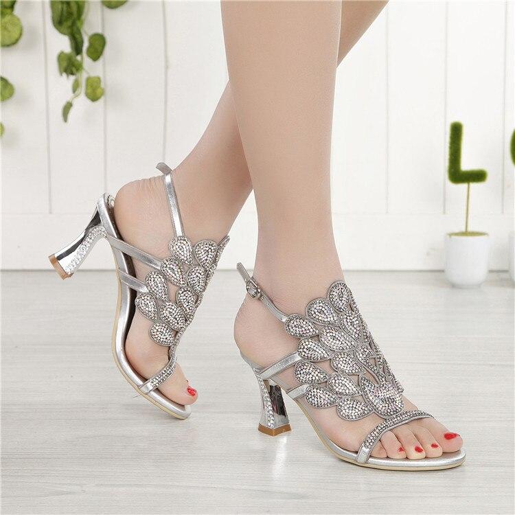 G-sparrow 2018 Summer Korean Rhinestone Slipper Silver Elegant Wedding Shoes Womens Crystal High Heel Sandals8