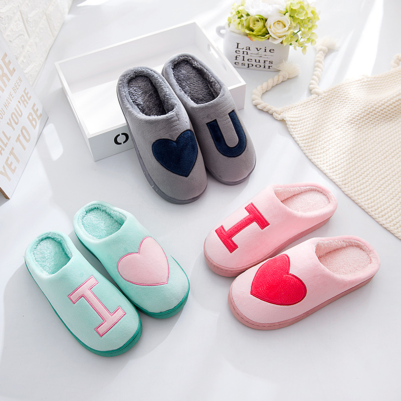 XIU XIAN Warm Plush Lovers Home Slippers 2017 Autumn Winter Indoor Thick Non Slip Bottom Couple Floor Shoes Comfortable Slippers autumn and winter carton lovers slippers indoor cotton padded floor warm slippers plush for women slippers