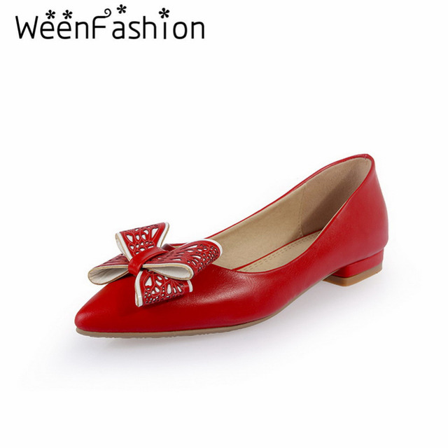 WeenFashion New Style Sweet and Elegant Shallow Mouth Pointed Toe PU Flat Shoes Bowtie Comfortable Ladies Wedding Party Shoes