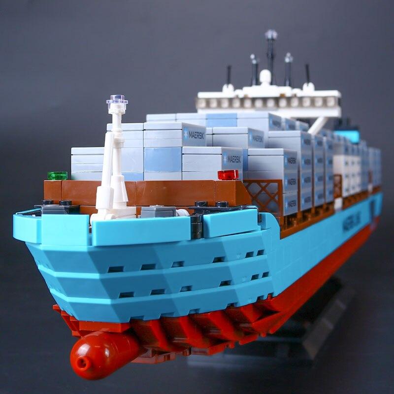 WAZ Compatible Legoe Technic 10241 Lepin 22002 1518pcs Maersk Cargo Container Ship Set building blocks Bricks toys for children lepin 22002 1518pcs the maersk cargo container ship set educational building blocks bricks model toys compatible legoed 10241