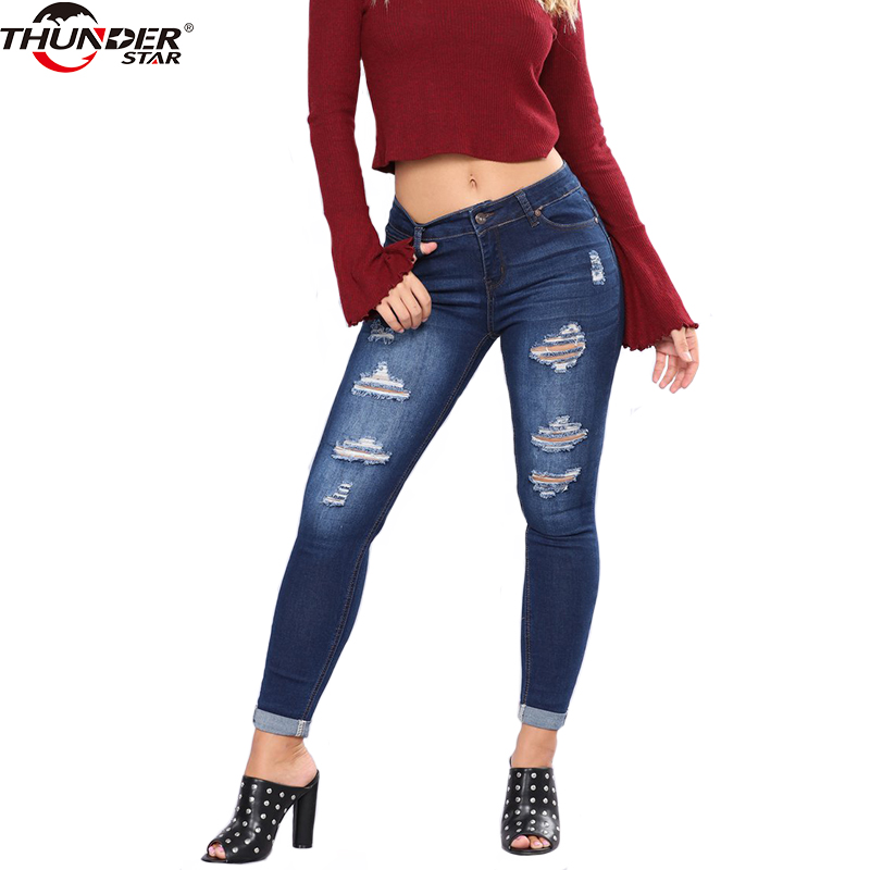 Skinny Jeans Women Denim Pants Holes Pencil Pants 2018 New Casual Trousers Blue Stretch Slim Ripped Jeans Rise Curvy image