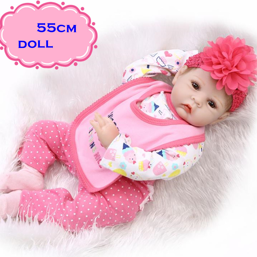 New 22inch NPK Silicone Reborn Baby Dolls Dressed In Sweet Pink And Watermelon Red Pretty Lovely Baby Dolls Newborn For Kid Gift