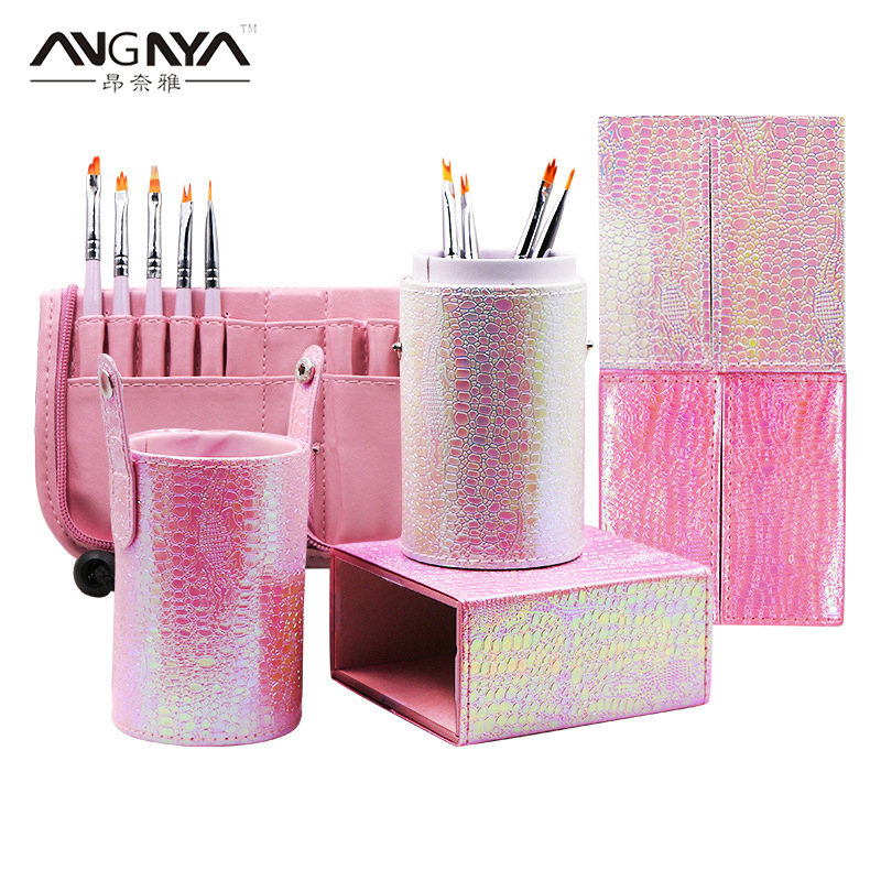 ANGNYA 1Pcs <font><b>Mermaid</b></font> Fish Scale Nail <font><b>Brush</b></font> Holder Storage Case <font><b>Bag</b></font> Cosmetic Pen Organizer <font><b>Makeup</b></font> Manicure Nail Art Tool Accessory image