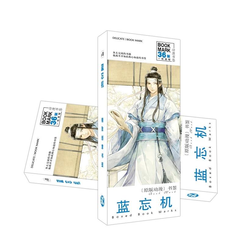 36Pcs/Set Mo Dao Zu Shi Lan WangJi Bookmark Figure Book Holder Message Card Stationery Bookmarks