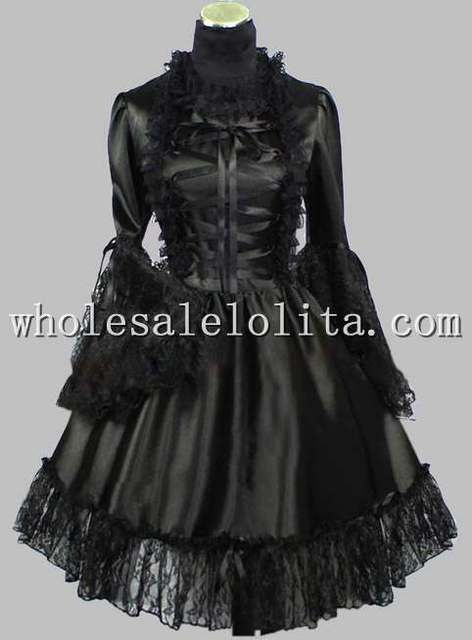 Gothic Black Lace Up Silk Like Victorian Inspired Dress Knee Length