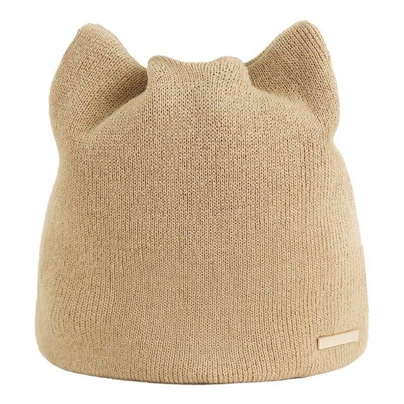 Hot Sale 1 PCS Girl's Cute Korean Version Solid Simple Warm Earmuffs Hat For Women Cat Beanies Ear Flaps Hat Ladies Touca Cap