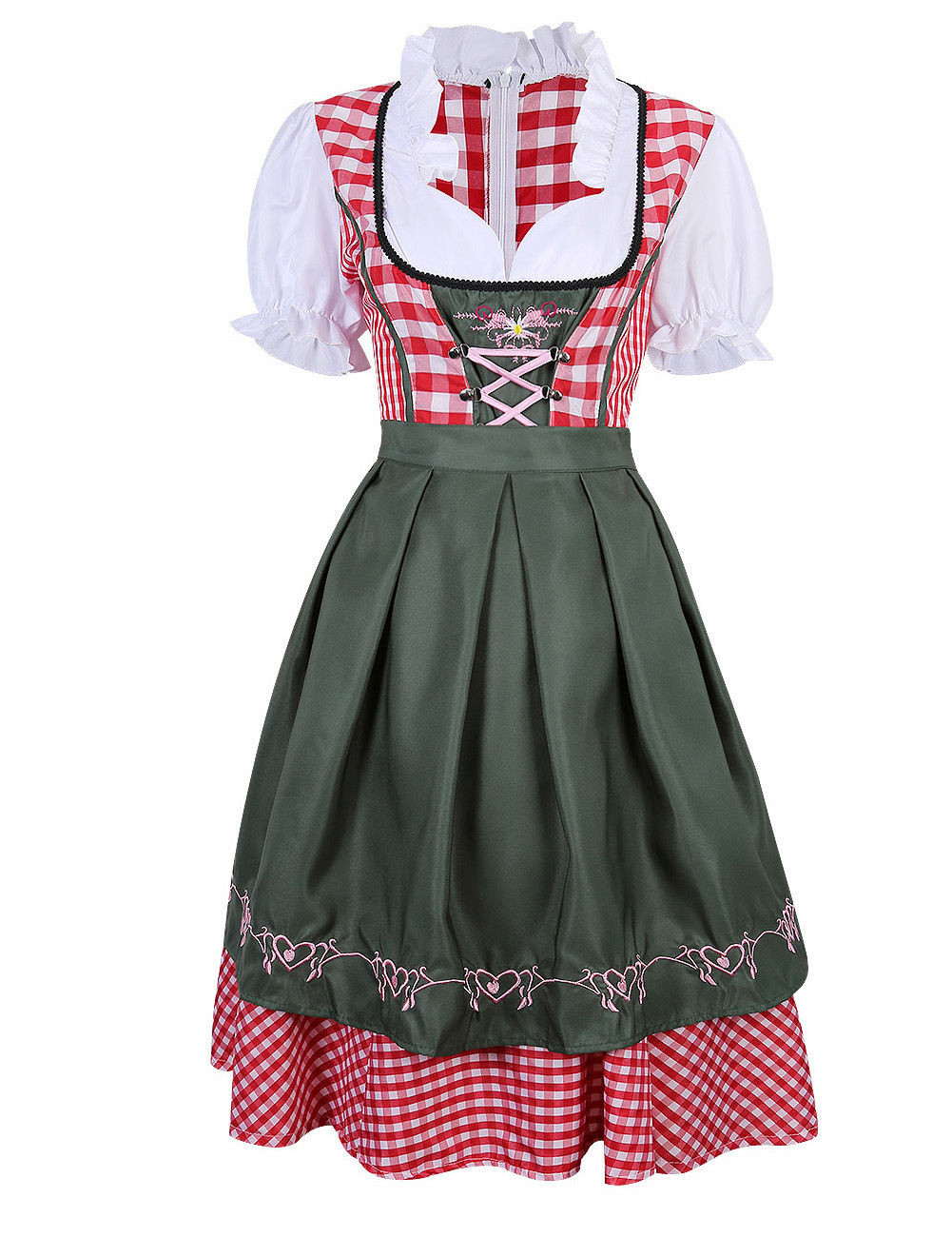 Plaid Dirndl Dress German Bavarian Oktoberfest Beer Wench Costume