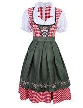 משובץ שמלה כפרית שמלת בוואריה הגרמנית אוקטוברפסט באר בחורה תלבושות