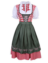 Plaid Dirndl Dress German Bavarian Oktoberfest Beer Wench Costume