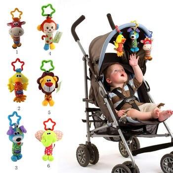 Baby Kids Rattle Toys Cartoon Animal Plush Hand Bell Baby Stroller Crib Hanging Rattles Infant Baby Toys Gifts adorable baby rattles plush crib stroller infant baby pram striped cute rattle hanging rabbit bear animal toy
