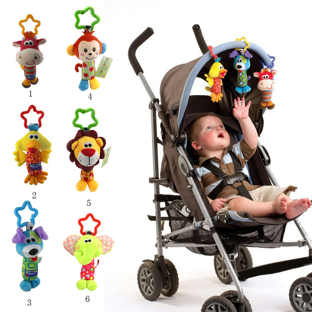 HAPPY MONKEY  Baby Kids Rattle Toys Cartoon Animal Plush Hand Bell Baby Stroller Crib Hanging Rattles Infant Baby Toys Gifts