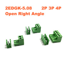 30/50Sets Pitch 5.08mm 2/3/4P Screw Plug-in PCB Terminal Block 2EDGK 2EDGR Open Right Angle Pin male/female Pluggable Connector цены