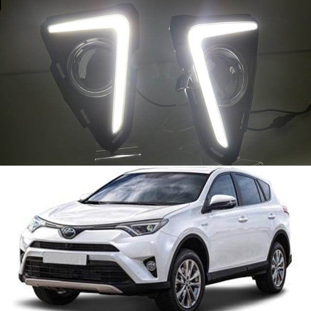 Car Flashing 2pcs Drl For Toyota Rav4 Rav 4 2016 2017 Led Daytime Driving Running Lights Daylight Lamp Yellow Turn Signal