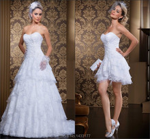 New Design 2 in 1 Wedding Dresses Sweetheart Sleeveless Vestido De Noiva Floor Length Detachable Lace 2014