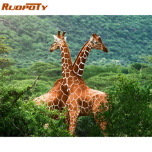RUOPOTY Frame Giraffe Animals DIY Painting By Numbers Kits Acrylic Paint On Canvas Modern Wall Art Picture For Home Decor 40x50(China)