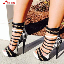 2019 New Gladiator Women Sandals High Heels Fashion Chain Platform Thin shoes For