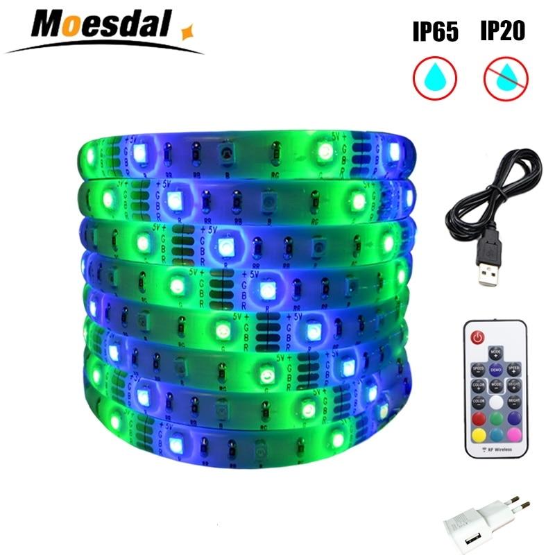 Moesdal  LED strip 5V USB Power  LED Strip light  RGB 2835 3528 SMD  HDTV TV Desktop PC Screen Backlight & Bias lighting 0.5-5M