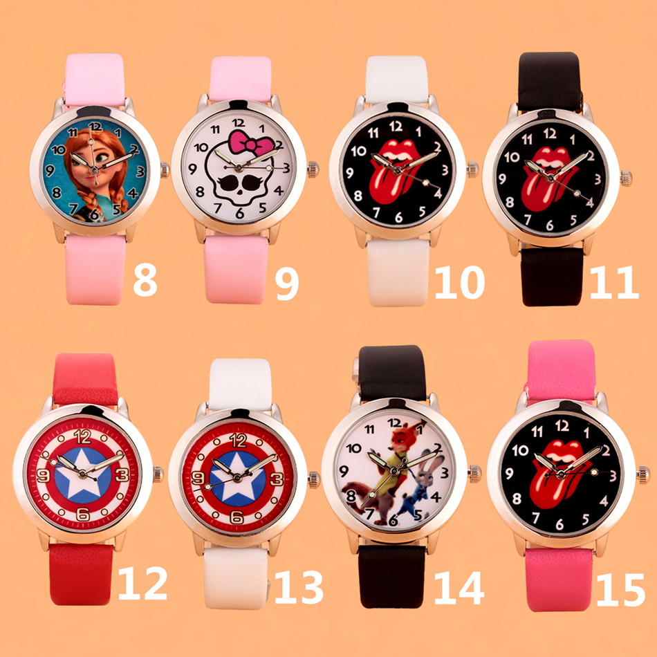 Cartoon Lovely Kids Girls Boys Children Students Quartz Wrist Watch Elsa Anna Princess Superman Minnie Mouse Watches Pink White