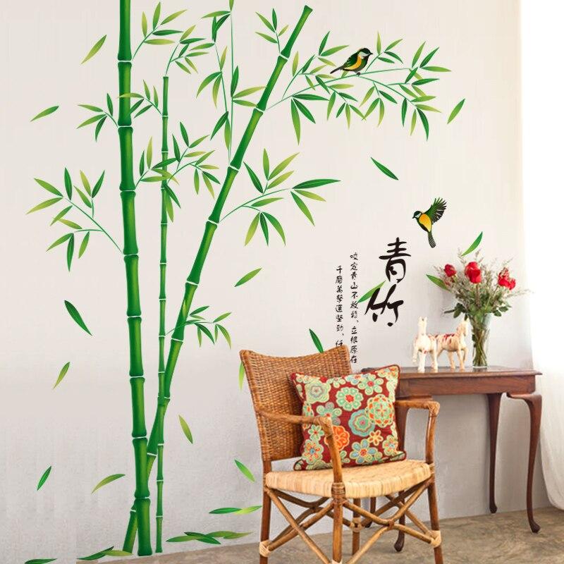 [SHIJUEHEZI] Vert Bambou Stickers Muraux Vinyle DIY Plantes Motif Décoration Autocollant pour Salon Salle D'étude Décoration