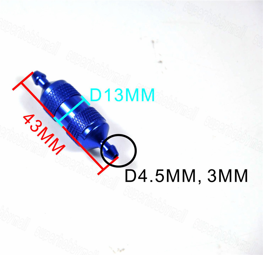 Metal Anodized Aluminum Large Fuel Filter For Gas Glow Smoke Fuels RC Airplane Parts 3 Colors High precision