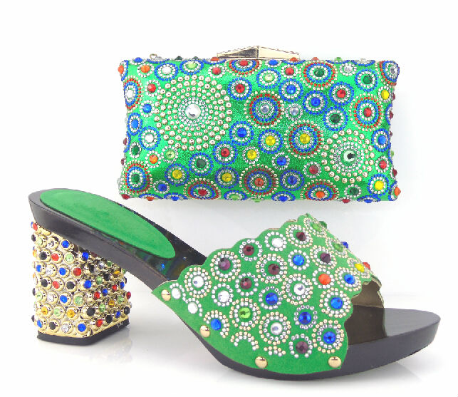 ФОТО New Design For African Shoes And Bag Set For Party Fashion Summer High Heels Shoes And Bag Set For Party Free Shipping