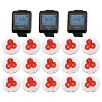 3 шт. часы пейджер приемник + 15 шт. кнопка вызова 433 МГц Беспроводной Система вызова для ресторана вызова официанта пейджер системы