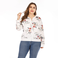 Plus Size Bomber Jacket Coats Floral Printed Classic Zip Up Short Jackets Lady Loose Long Sleeve Spring Short Coat Women 5XL