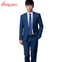 Jakcet Pant Tie Men Formal Business Suit Sets Brand Design One Button Slim Fit Dress