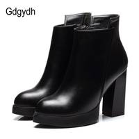 Gdgydh 2017 New Autumn Martin Boots Women Soft Leather Pointed Toe Black Ladies Ankle Boots High