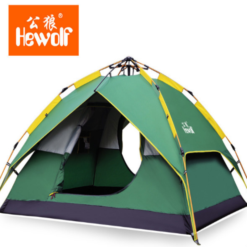 Hewolf Hydraulic 3 4 Persons Automatic Tent Dark Green Quick opening Multi purposes Picnic BBQ Fishing Hiking Camping