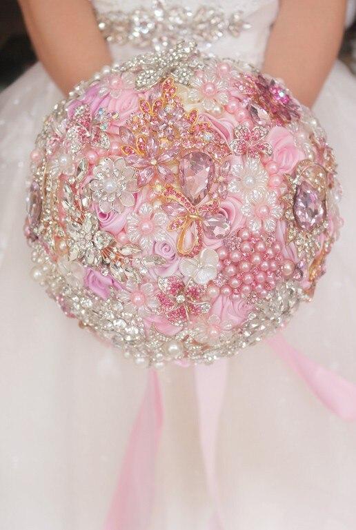 Гироборд с колесами 8 дюймов пользовательские свадебный букет, Розовый Свадебный букет невесты, брошь с букетом, с бусинами и драгоценными камнями ювелирные изделия из лент