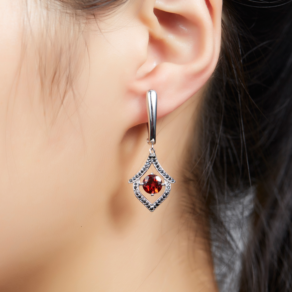 Hutang Vintage Natural Red Garnet & Black Spinel Dangle Earrings Solid 925 Sterling Silver Gemstone Fine Jewelry Women Gift