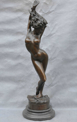 Free Shipping Bronze Striptease Girl Naked Female Women Sexy Wonderful Sculpture Statue