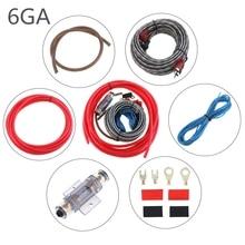 цена на 1 Set 550 Core 6GA PVC + Copper Clad Aluminum Car Power Amplifier Audio Line Speaker Woofer Cables Power Line with Fuse Suit
