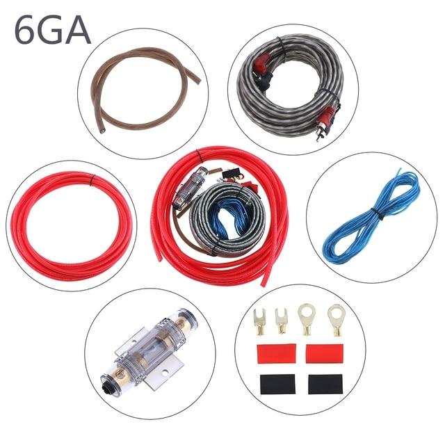 Cheap 1 Set 550 Core 6GA PVC + Copper Clad Aluminum Car Power Amplifier Audio Line Speaker Woofer Cables Power Line with Fuse Suit