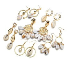 2019 Fashion Bohemia Gold Color Shell Drop Earring For Women Geometric Pearl Statement Shell Dangle Earring Brincos Jewelry цена