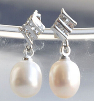 hot sell new free shipping 00141 WHITE RICE PEARL rhombus DANGLE EARRING