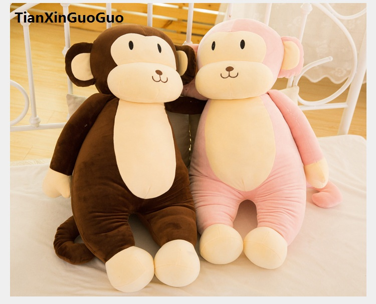 Peluche grand 75 cm rose singe en peluche jouet belle bande dessinée singe très doux poupée jeter oreiller cadeau d'anniversaire b0783