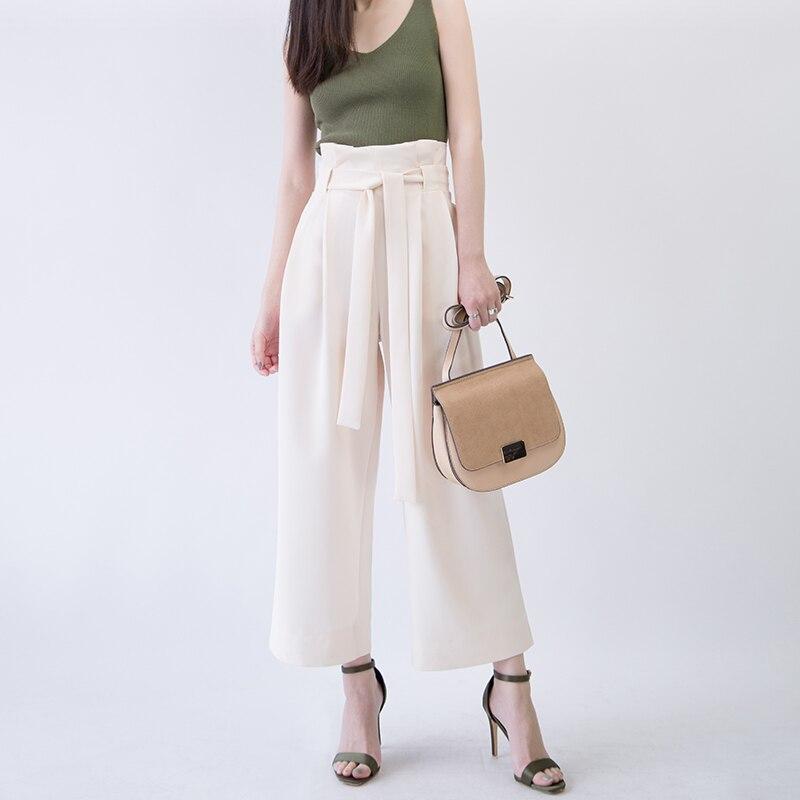 Customize Summer Fashion Women Casual Plus Size 3XS-10XL Retro Vintage High Waist Loose Ankle Length Chiffon   Wide     Leg     Pants