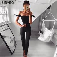 Sibybo New Off Shoulder Lace Up Black Long Jumpsuit Women Autumn Winter Sexy Slim Bocycon Playsuit