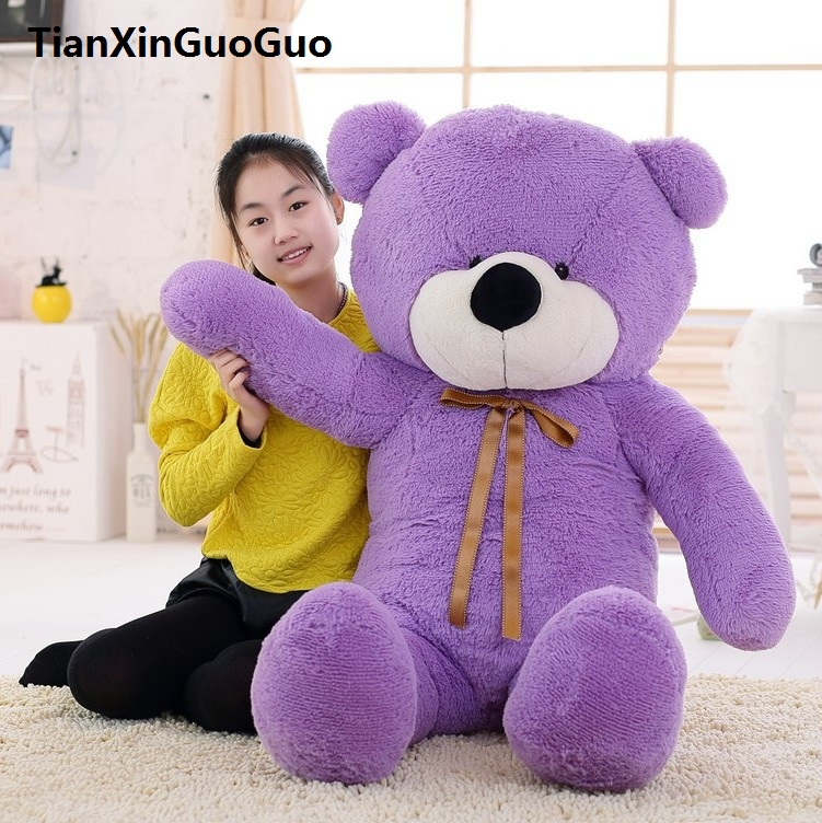 fillings toy large 140cm silk belt bear plush toy purple teddy bear doll soft hugging pillow Christmas gift w0187 super cute plush toy dog doll as a christmas gift for children s home decoration 20