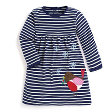 Jumping meters baby girls new designed cartoon dress with applique a cute bird kids navy white striped spring autumn clothes