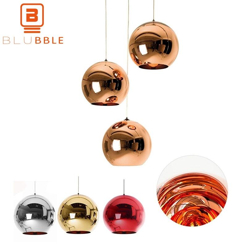 BLUBBLE Mirror Glass Ball Lamp Glass Globe Pendant Light hanging Tom Dixon Lamp Spherical Parlor Loft Rope Classic Home Fixture