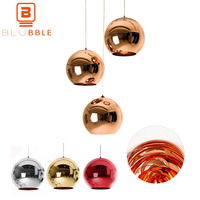 BLUBBLE Mirror Glass Ball Lamp Glass Globe Pendant Light hanging Tom Dixon Lamp Spherical Parlor Loft Rope Classic Home Fixture