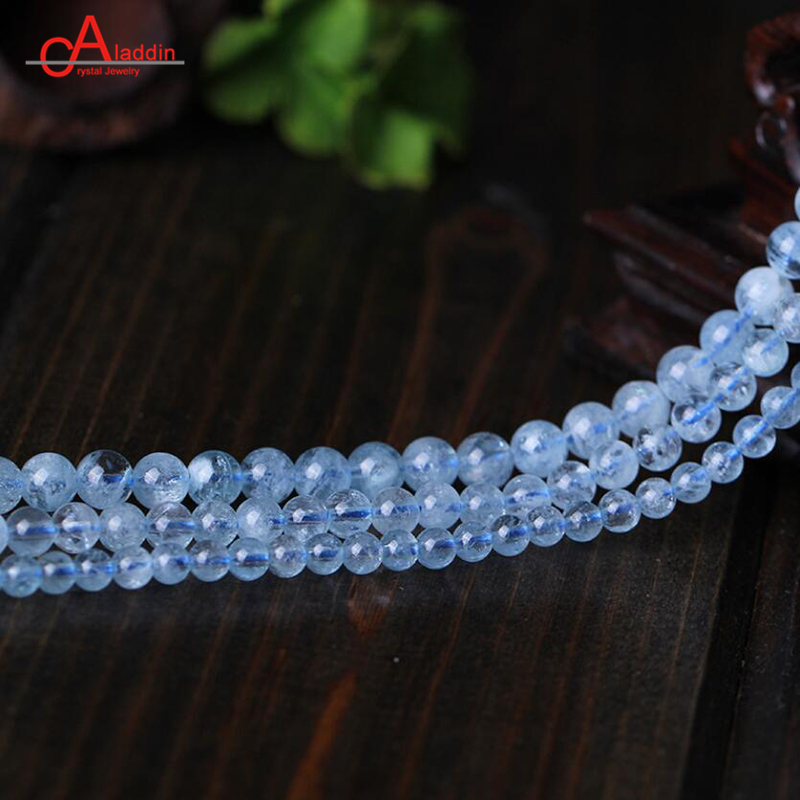 Aladdin Top 7A+ Natural Aquamarin Beads Crystal Loose Bead Transparent Sea Blue Diy Women jewelry Necklace Bracelets & Earrings high quality nature aquamarin loose beads for women jewelry diy making for necklace an bracelets