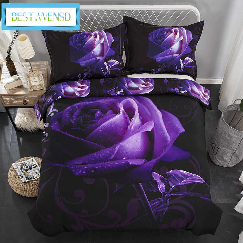 BEST.WENSD HD 3d bedding bed linens rose duvet cover set polyester cotton bedding set queen bed set 3/4pc adult bedclothe purple