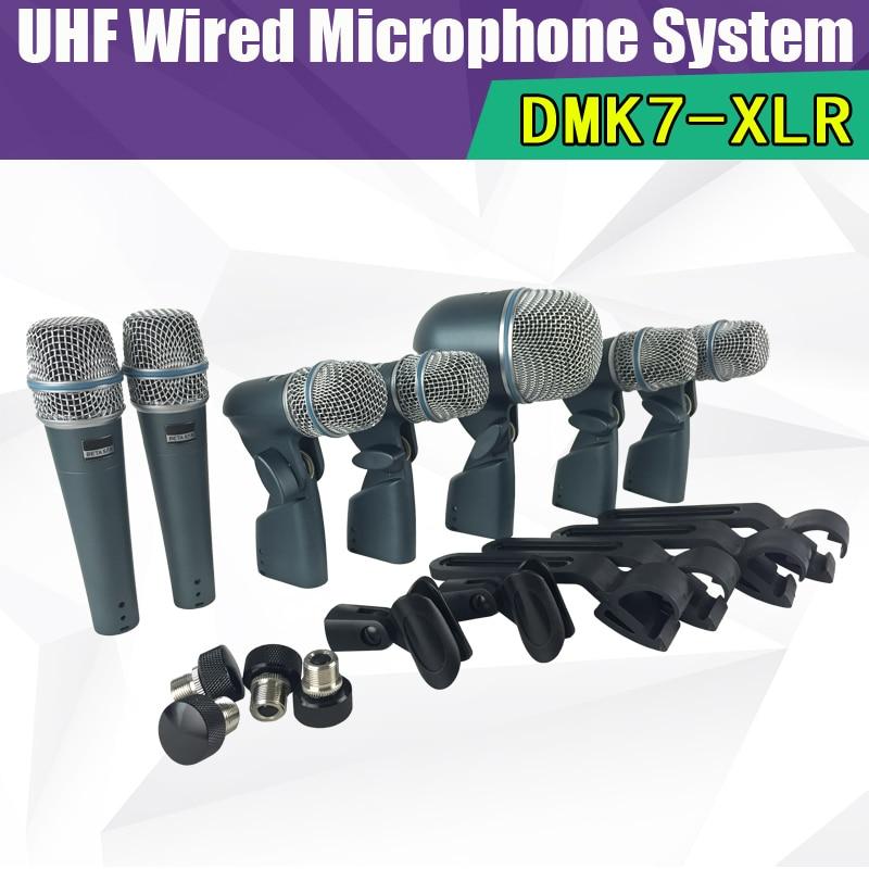 все цены на Free shipping + professional BETA DMK7-XLR DMK7 Drum Microphone Kit 7 DRUM Mics With Two BETA57A Four BETA56A One BETA52A