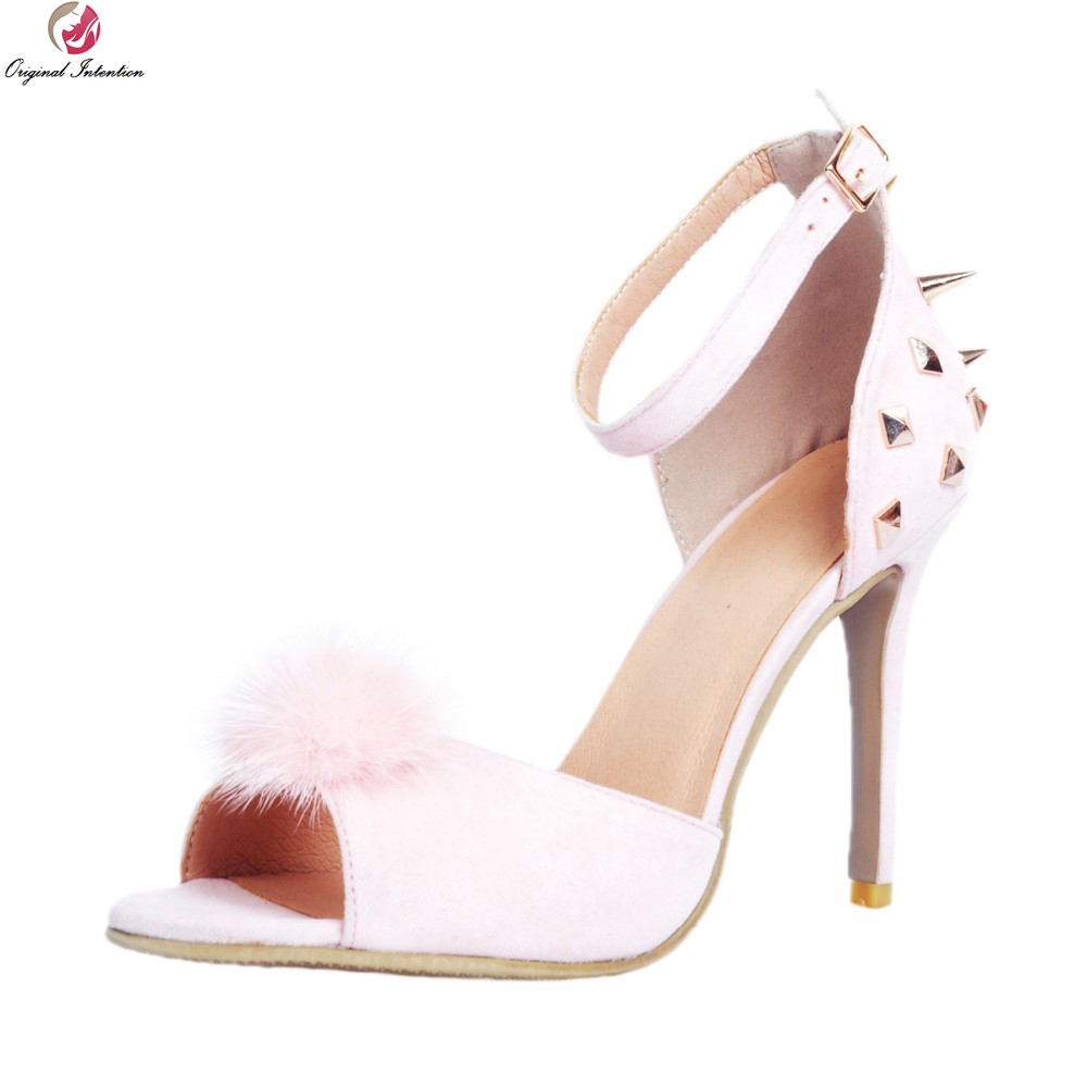 Super Elegant Women Sandals 2017 Stylish Rivets Peep Toe Thin Heels Sandals High-quality Pink Shoes Woman Plus US Size 4-15 hot selling sexy sloid thin heels sandals woman new desig lace red white black sandals peep toe elegant for women free sipping